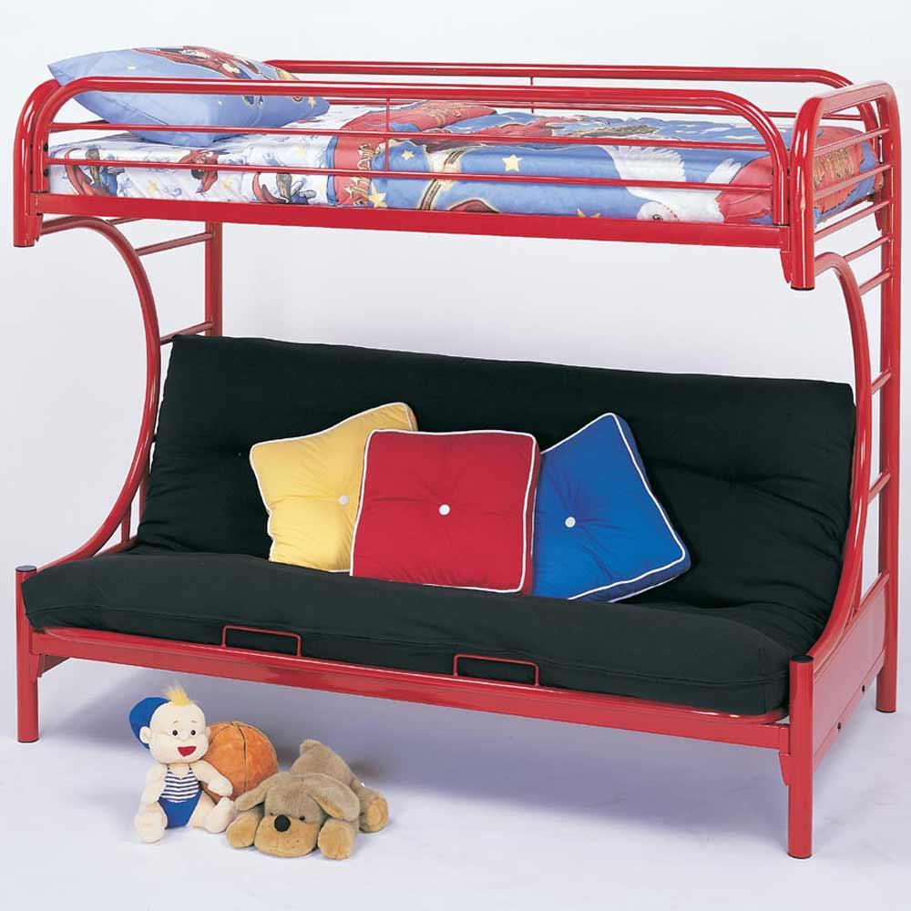 Futon bunk beds for teens with tubular metal frame