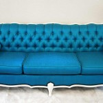 Hollywood Starlet Silk Tufted Peacock Blue Couches