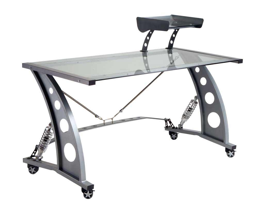 PitStop Silver Mobile Glass Desk