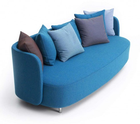 blue living room couches in minimalist design