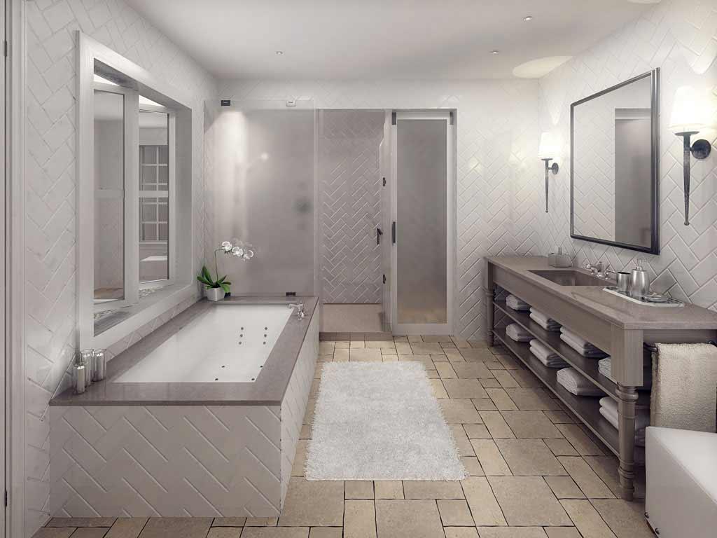 glowing herringbone bathroom natural stone tile