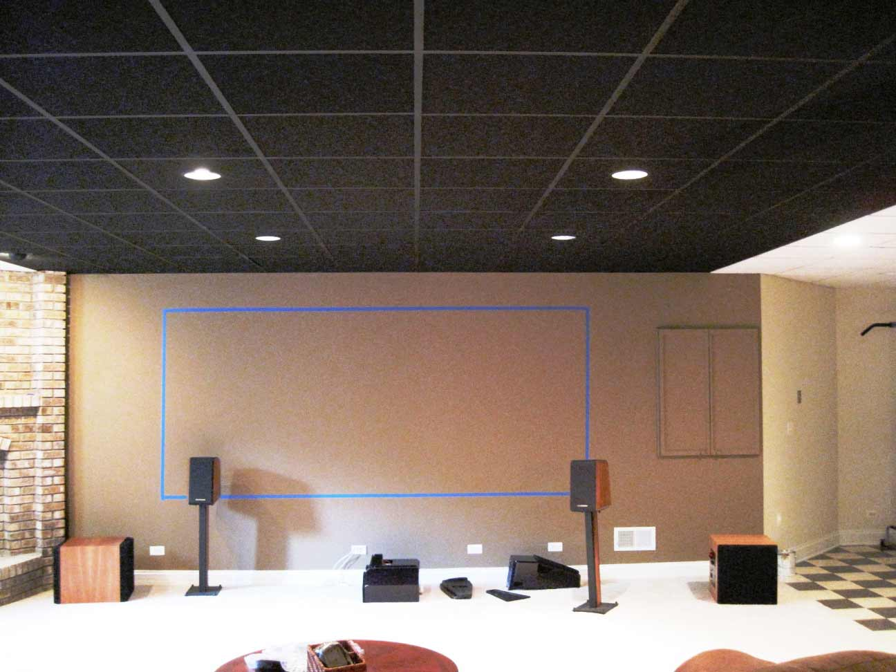 home black ceiling tiles with lamps