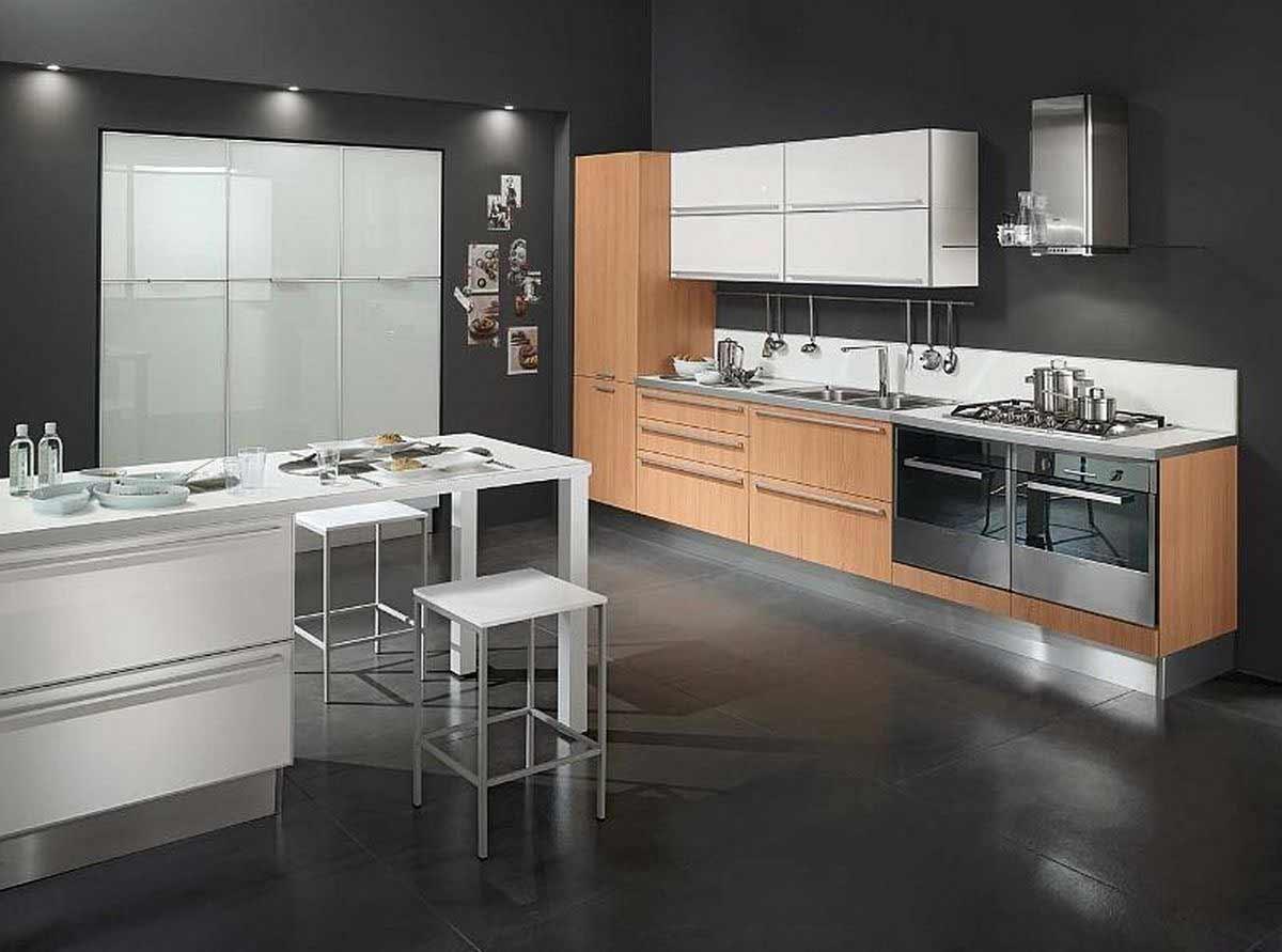 modern black tile flooring for kitchen