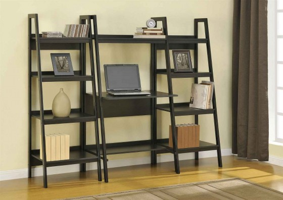 Black Leader Bookcase with Computer Table