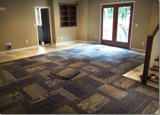 Carpet Tile with Wooden Accent for Home Basement