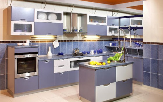 Chekered blue white kitchen backsplash ideas