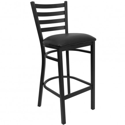 Flash Furniture Black Ladder Back Metal Bar Stools