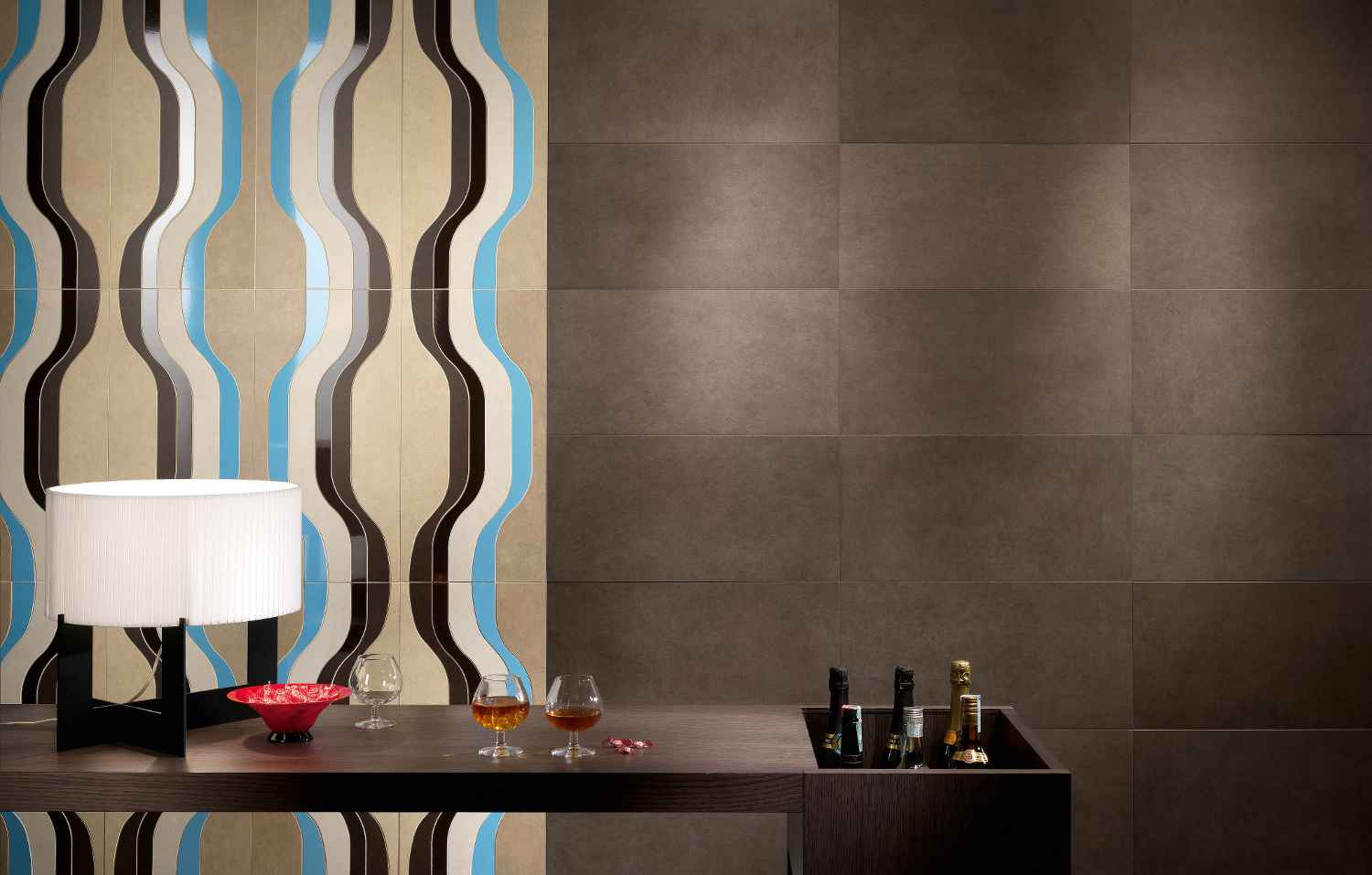 Panaria wall porcelain type tiles in dark brown