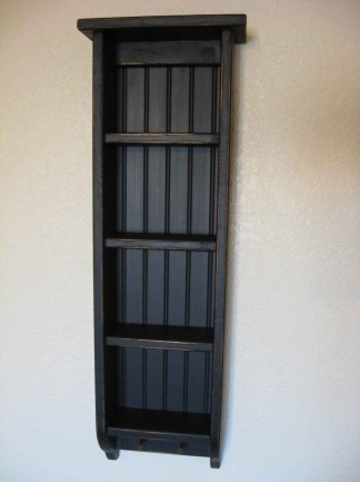 Primitive Wooden Black Ladder Bookshelf