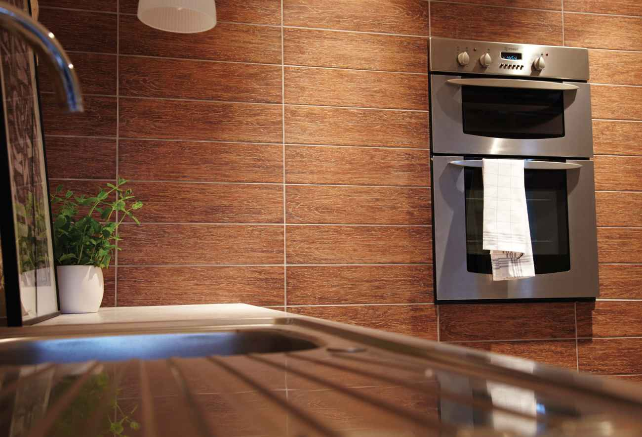 Wall Kithcen Tiles with Teak Wood Effect