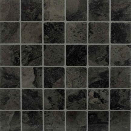 Adhesive Black Vinyl Tile in Slate Mosaic