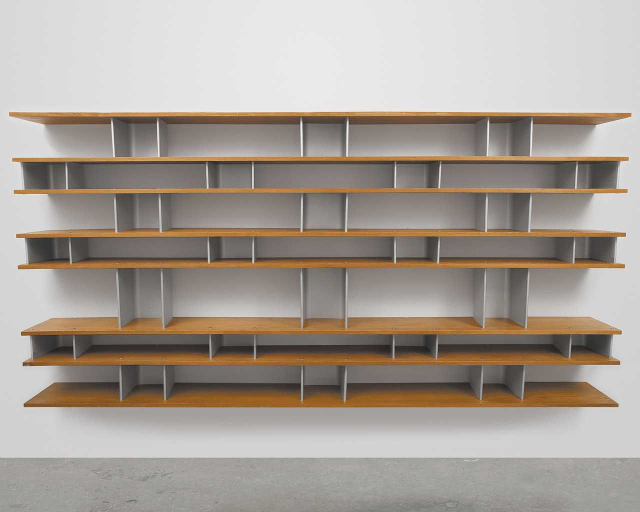 Aluminum and oak wall mounted bookcases