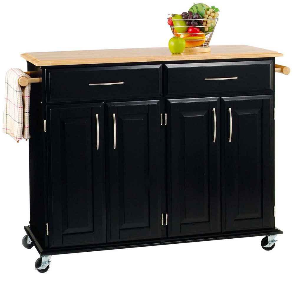 Black mobile kitchen cabinet