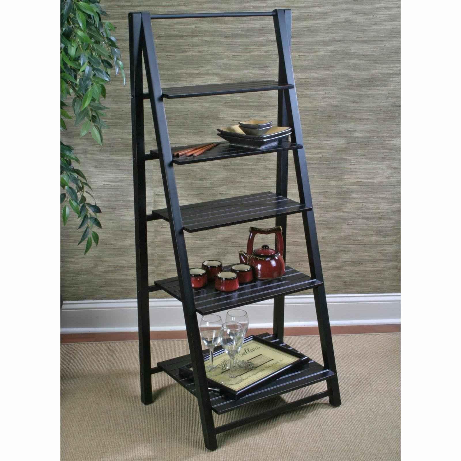 Black Ladder Bookshelf ~ Leaning ladder shelf feel the home