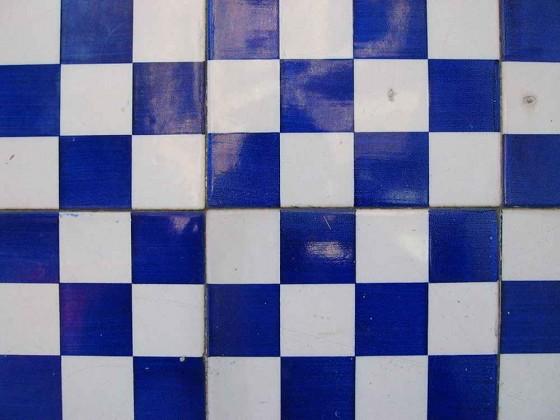 Cheap Blue and White Vinyl Tile Flooring