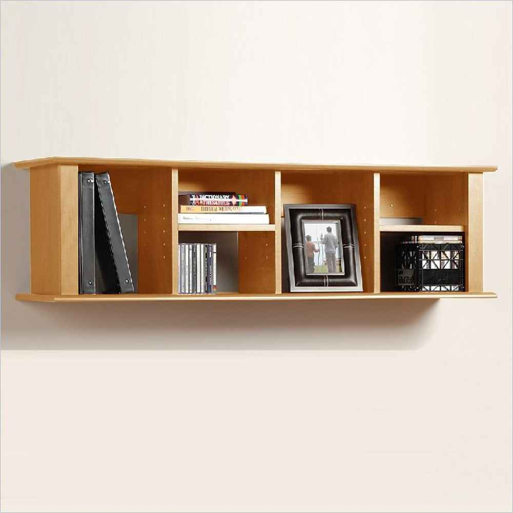 Contemporary Maple Wall Hanging Book Desk Hutch