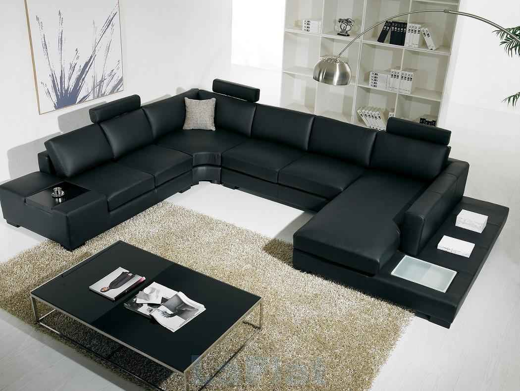 Cubo Black Leather Contemporary Sectional Sofas