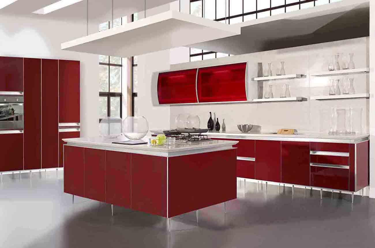 Modern home red kitchen cabinet design
