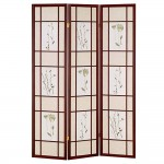 Three panels screen divider with flower design