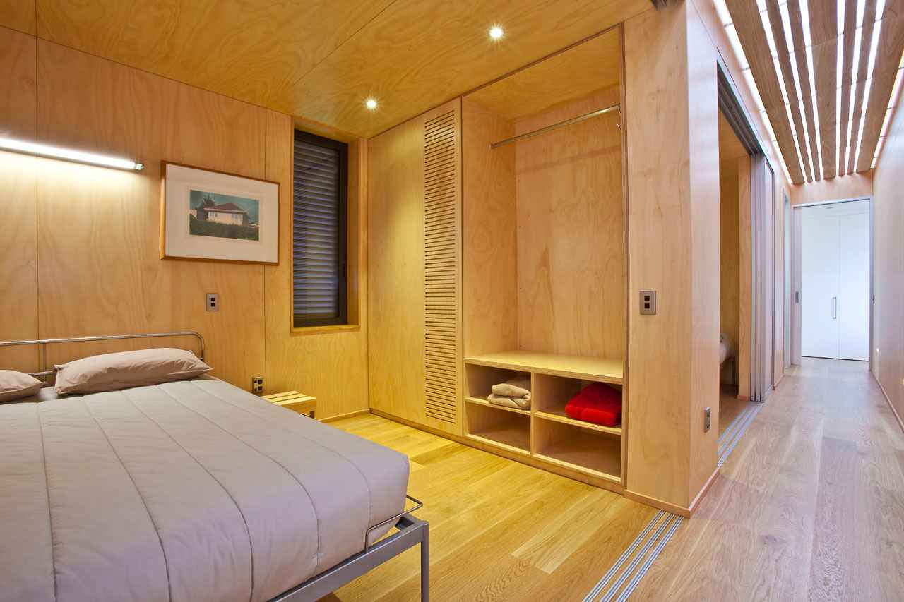 Architectural sliding exterior wall panels for bedroom