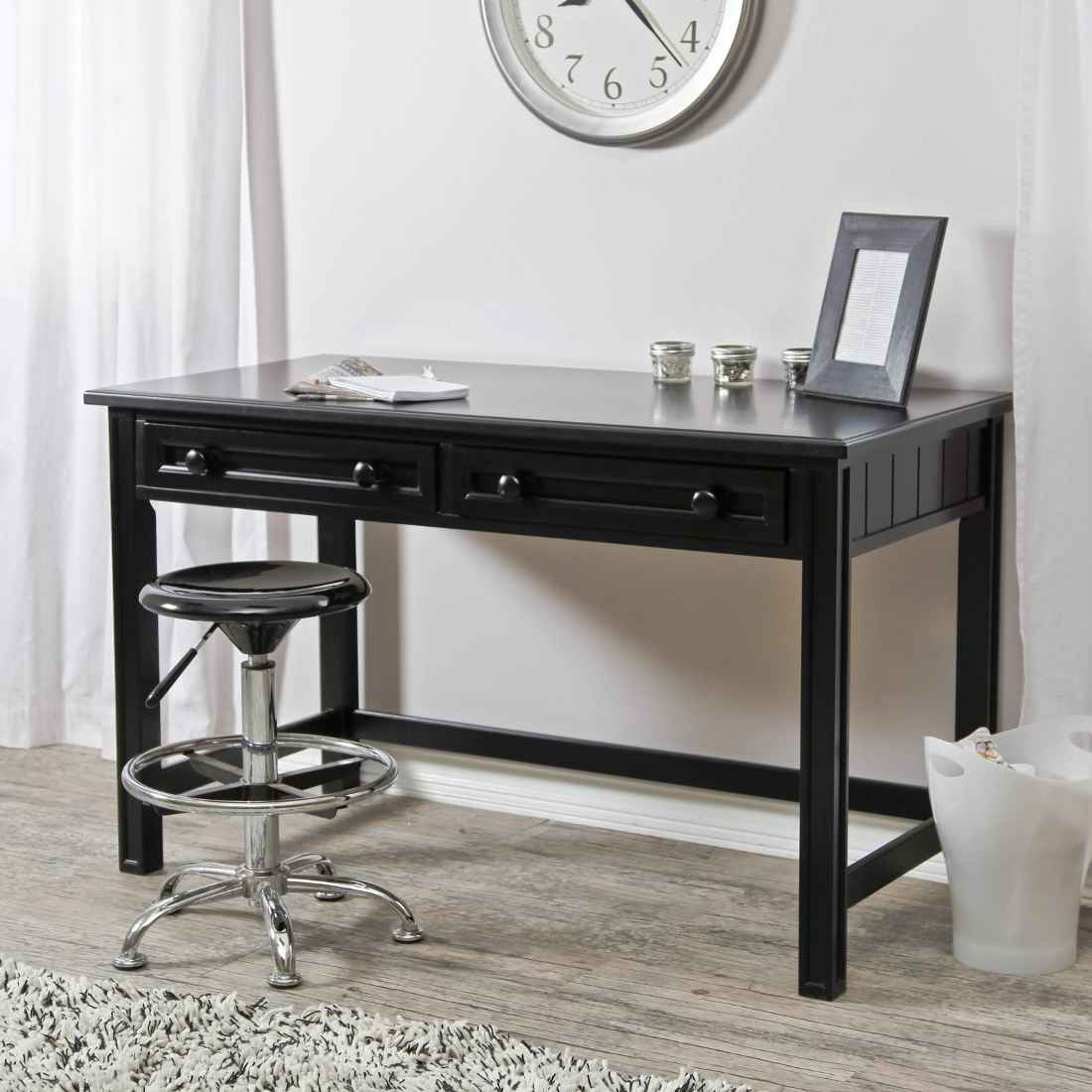 Dark writing and laptop desk with two drawer