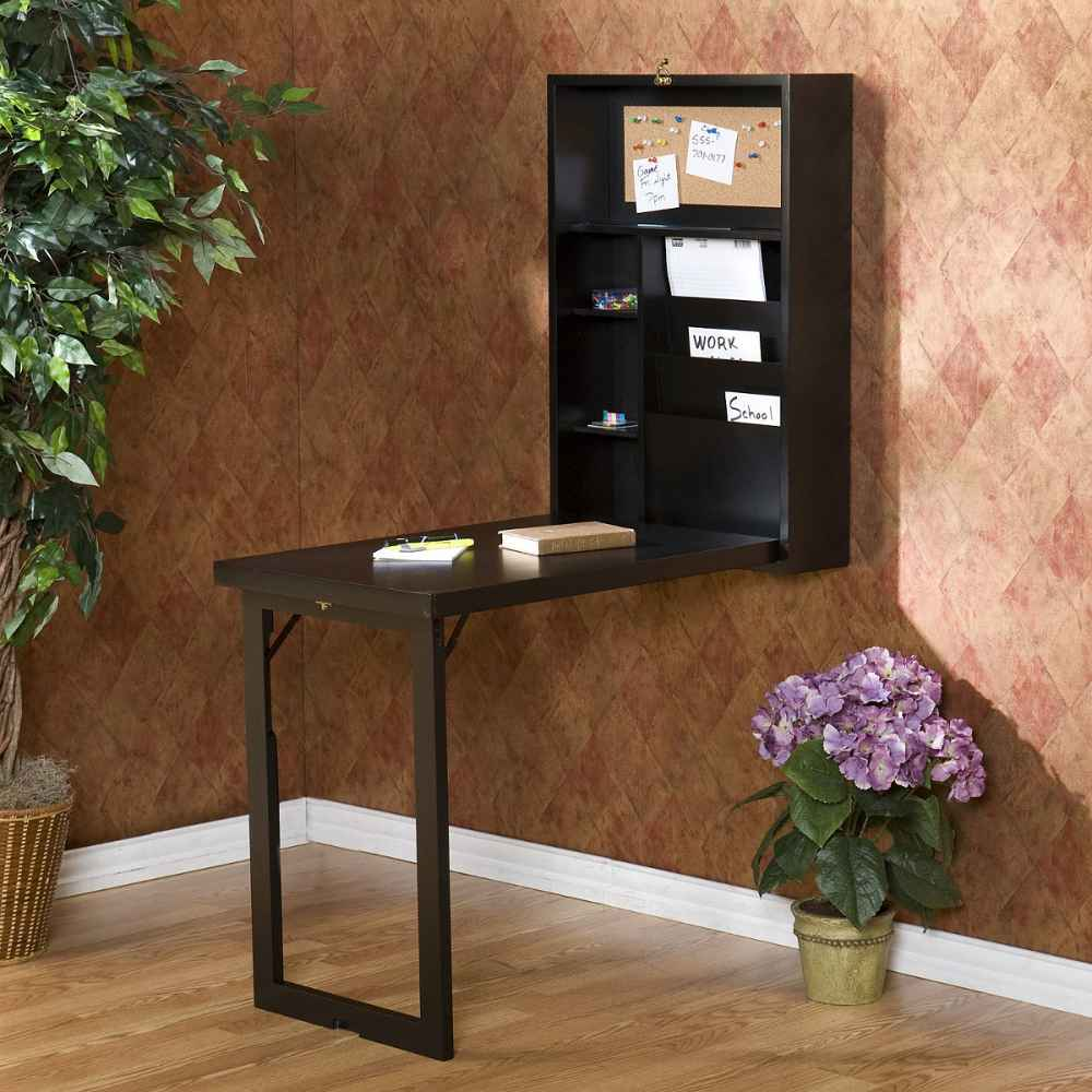 Folding convertible desk with hutch in black polish