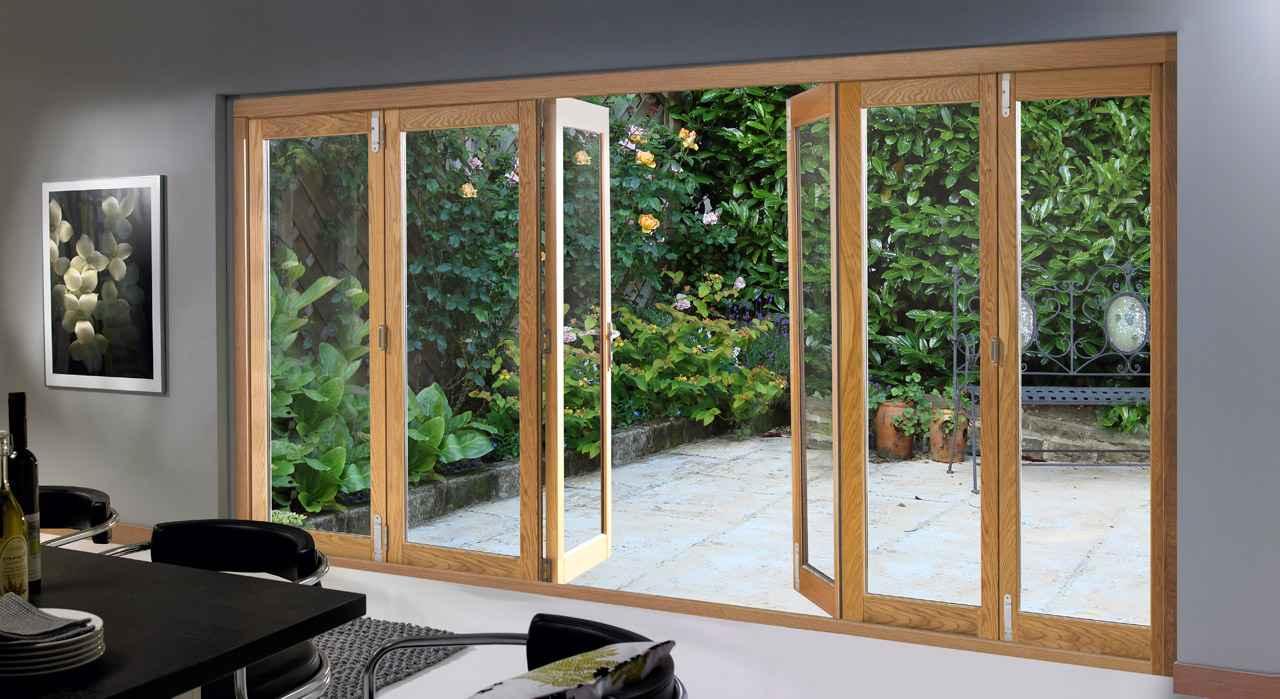 Home folding external patio glass door