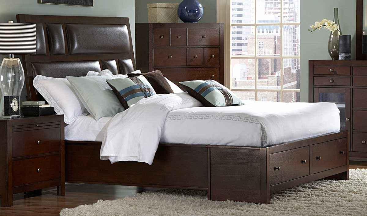 Homelegance bottom drawer platform beds in inglewood sliegh