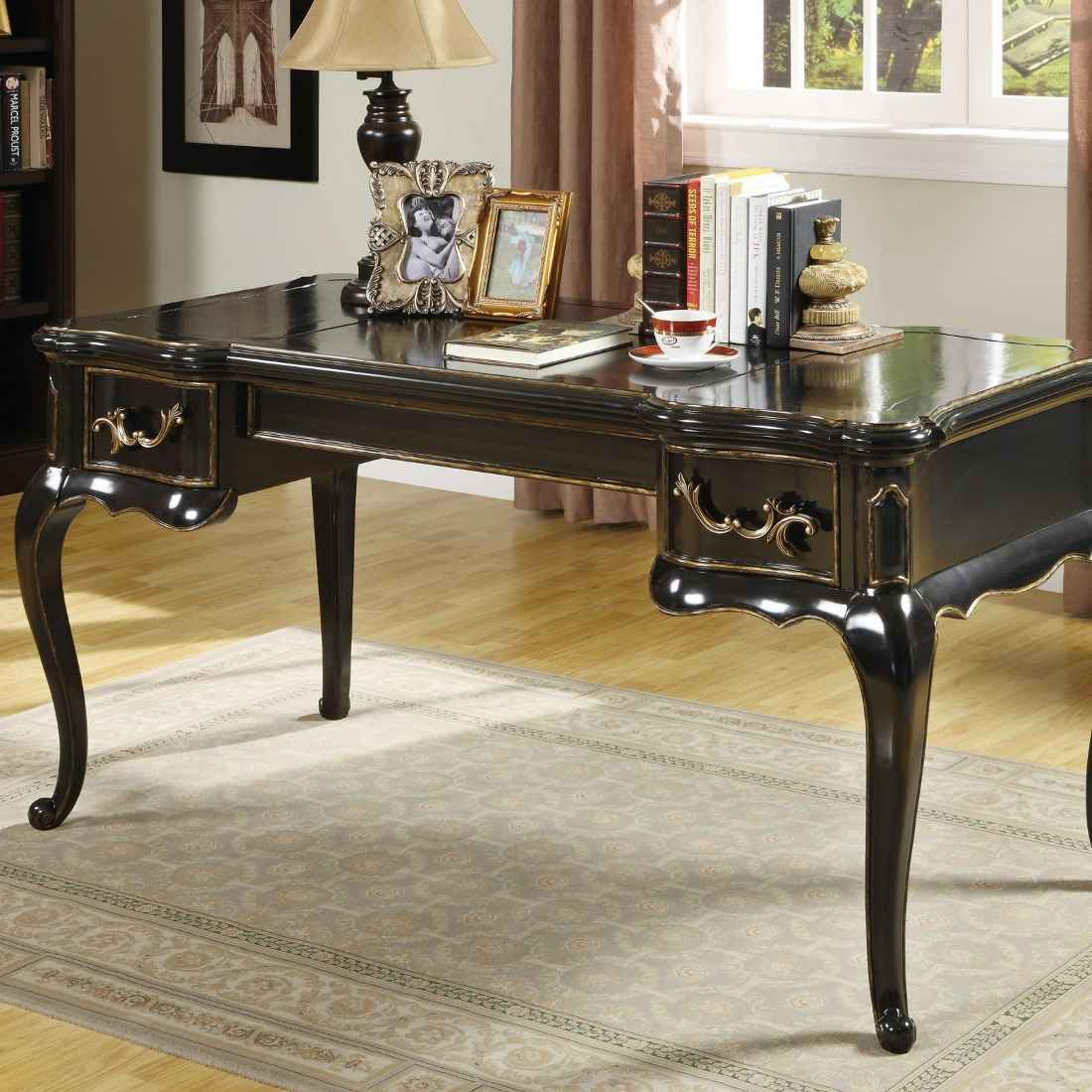 Hooker Black Wooden Writing Desk Victorian Style