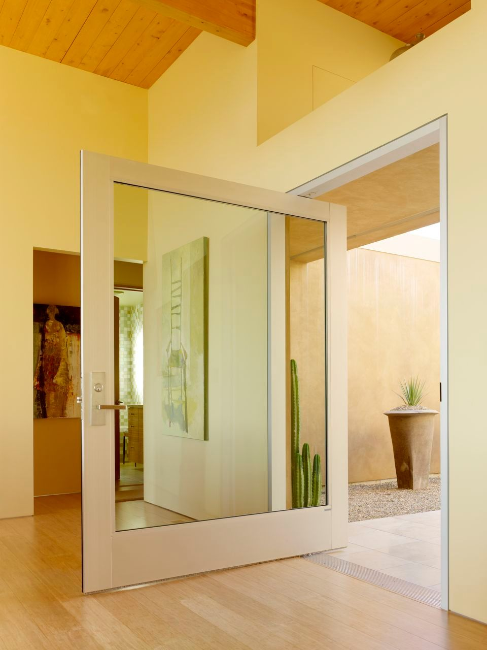 Huge sidelight glass door in modern style