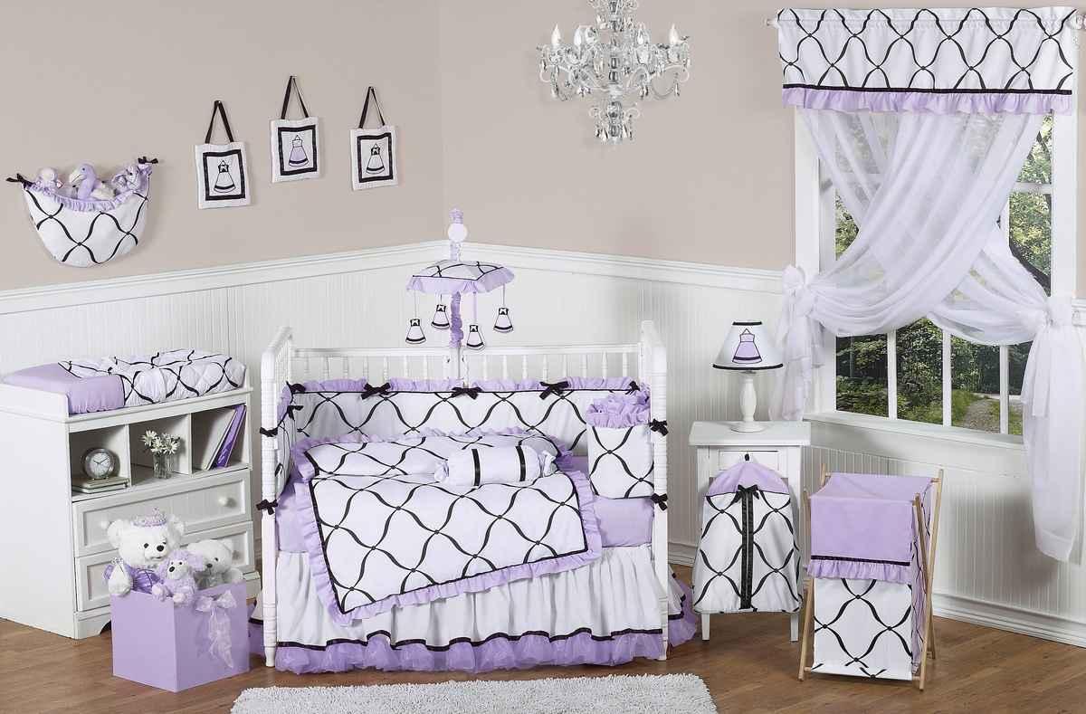 Princess Purple Cribs for Twins Bedding Set