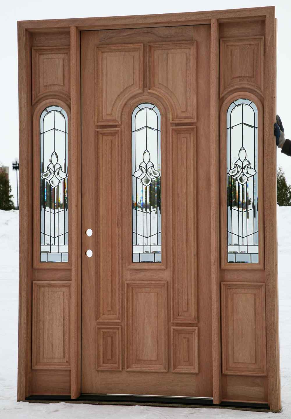 cheap wooden external doors with sidelights