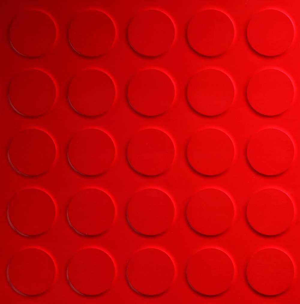 circle motif ceramic floor tiles in red