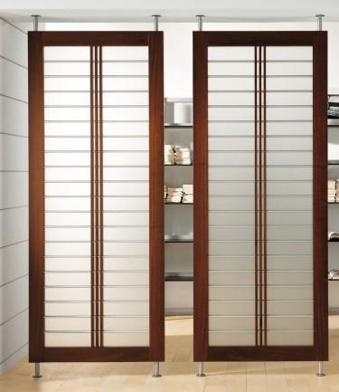 modern glass wood room divider