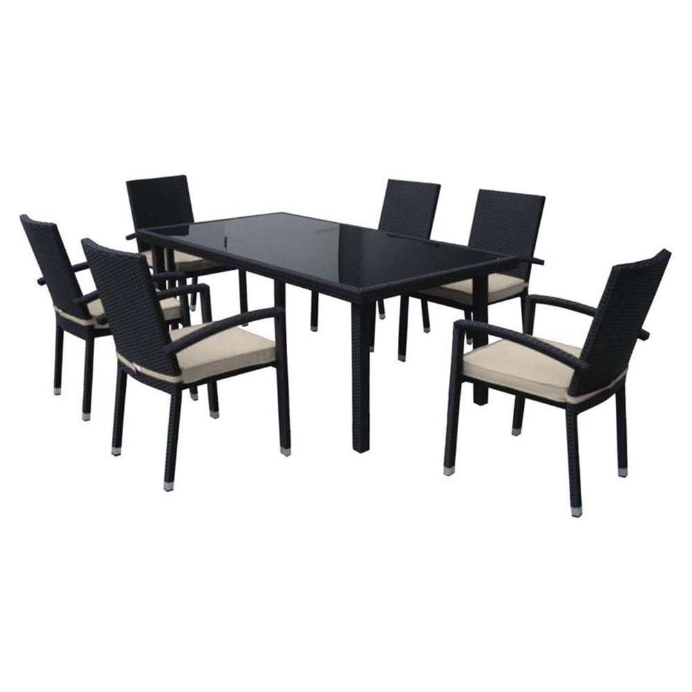 Black Beige Resin Wicker Outdoor Dining Set