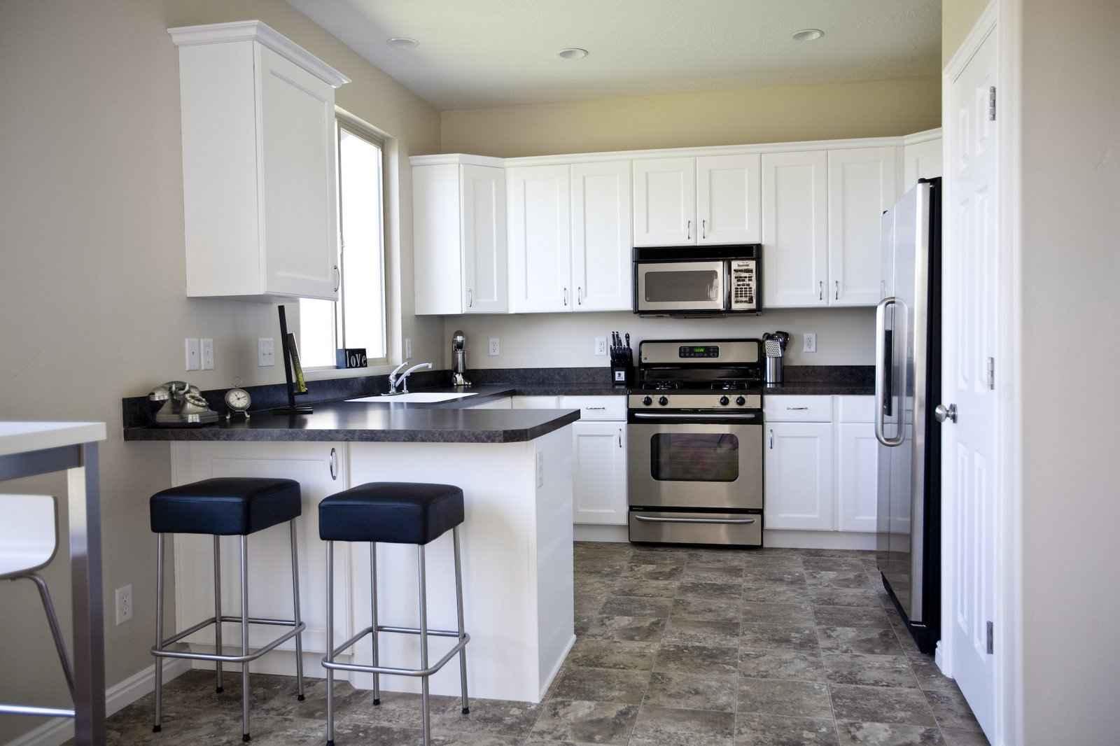 Black vinyl floor tile and countertops