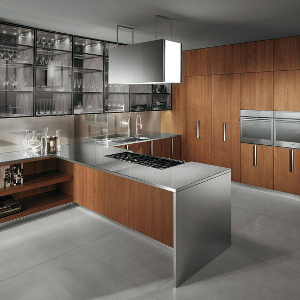 Contemporary wood and steel kitchen cabinet
