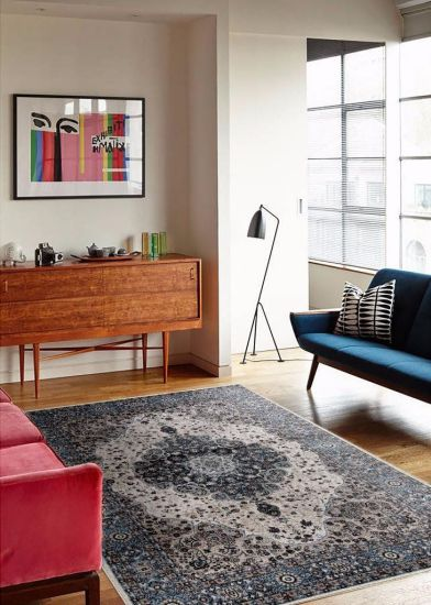 107755 Blue 7'10x10'2 Area Rug Carpet Large New