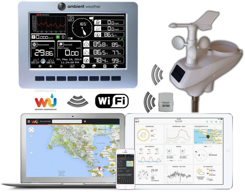 Ambient Weather WS-1001-WIFI OBSERVER Solar Powered Wireless WiFi Remote Monitoring Weather Station