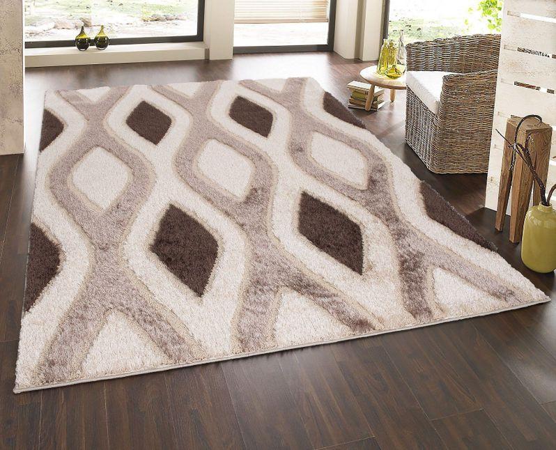 "Casa Regina Shaggy Collection Beige Contemporary Abstract Design (7'10""x9'10"") Shag Area Rug"
