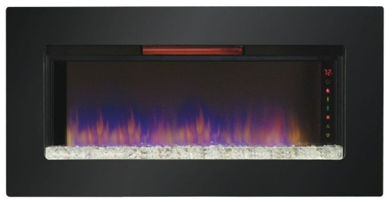 "ClassicFlame 47II100GRG Felicity 47"" Wall Mounted Electric Infrared Quartz Fireplace, Black Glass Frame"