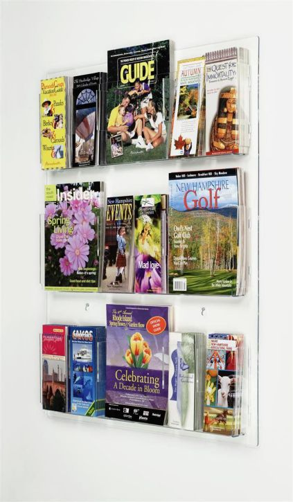 "Displays2go Clear Acrylic Hanging Magazine Rack with Adjustable Pockets, 29x35 "" (RP9CLR)"