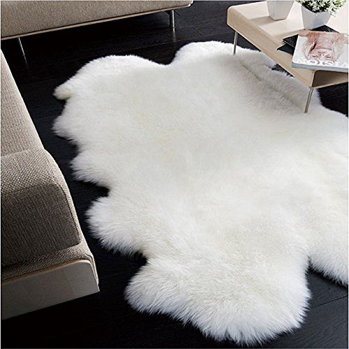 Genuine Sheepskin Rug Four Pelt Ivory White 4x6