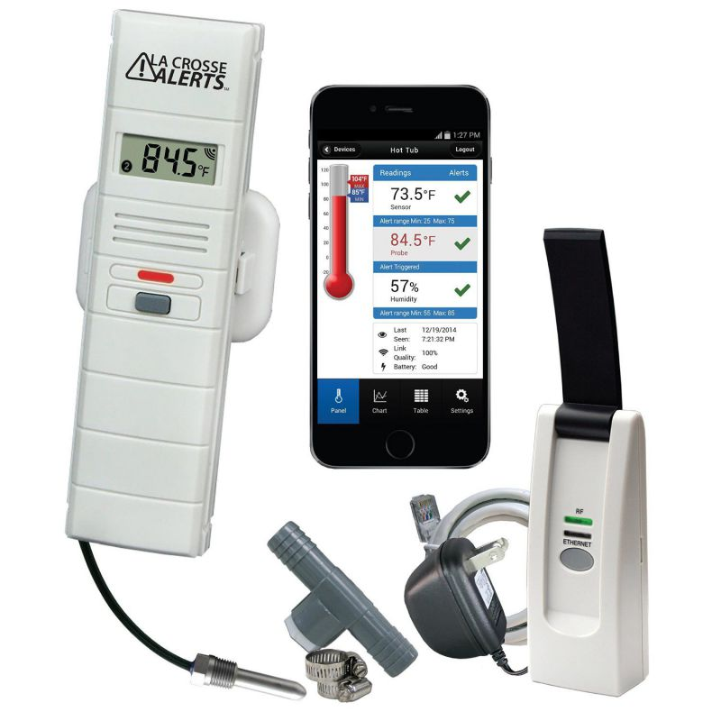 La Crosse Alerts Mobile Wireless 926-251031-HT Monitor System with Hot Tub Accessory Set