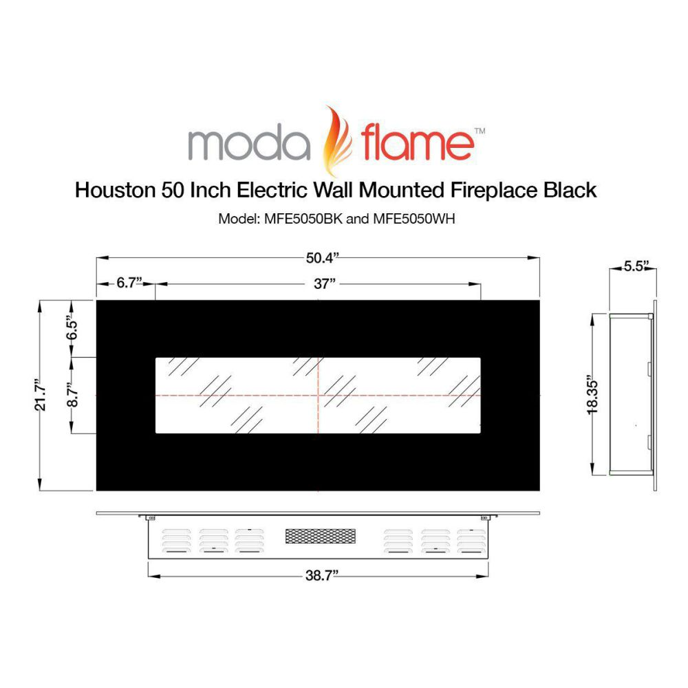 "Moda Flame Houston 50"" Electric Wall Mounted Fireplace Dimension"