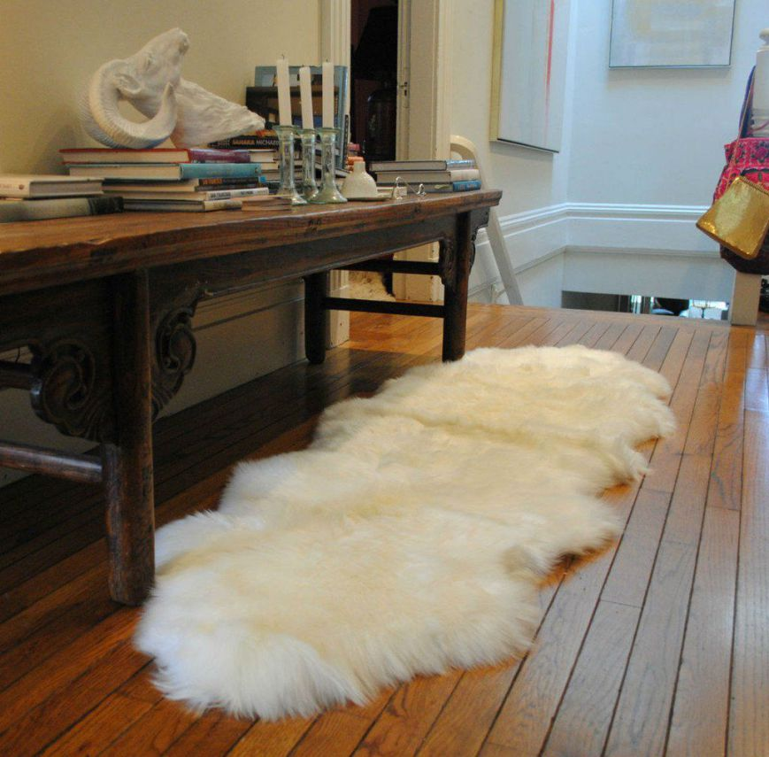Real Sheepskin Rug Double Pelt Ivory White Fur Rug 2x6 By A-STAR (TM)