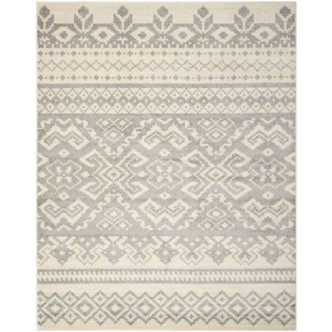 Safavieh Adirondack Collection ADR107B Ivory and Silver Area Rug, 8 feet by 10 feet (8' x 10')