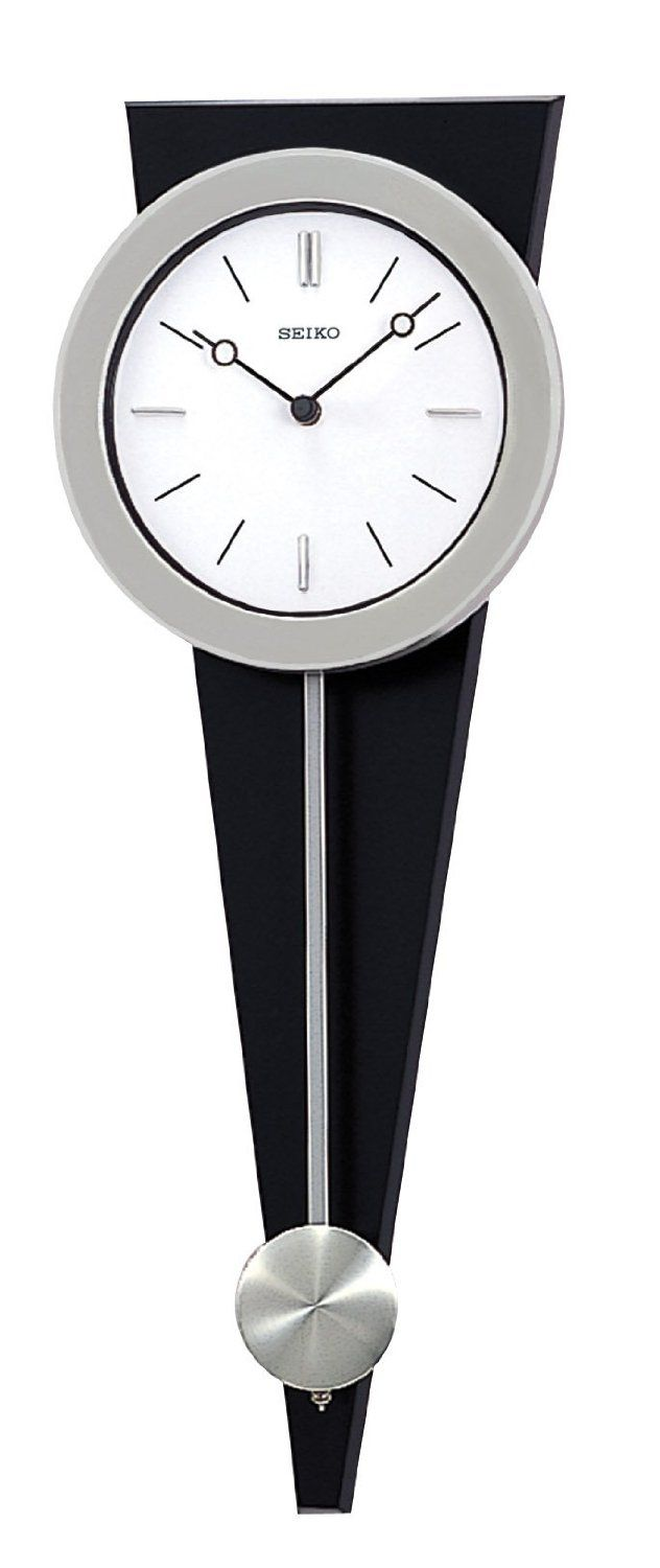 Seiko Wall Pendulum Clock Silver-Tone Case on Black Solid Wood Base