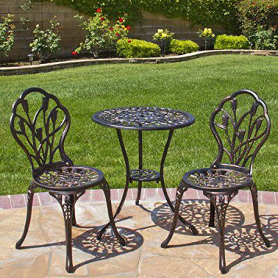 Best Choice Products® Outdoor Patio Furniture Tulip Design Cast Aluminum Bistro Set in Antique Copper