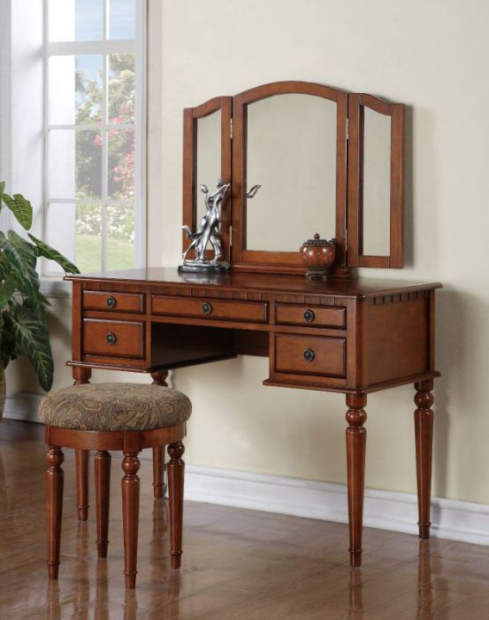 Bobkona St. Croix Collection Vanity Set with Stool, Walnut